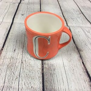 Anthropologie C Initial Monogram Orange Mug